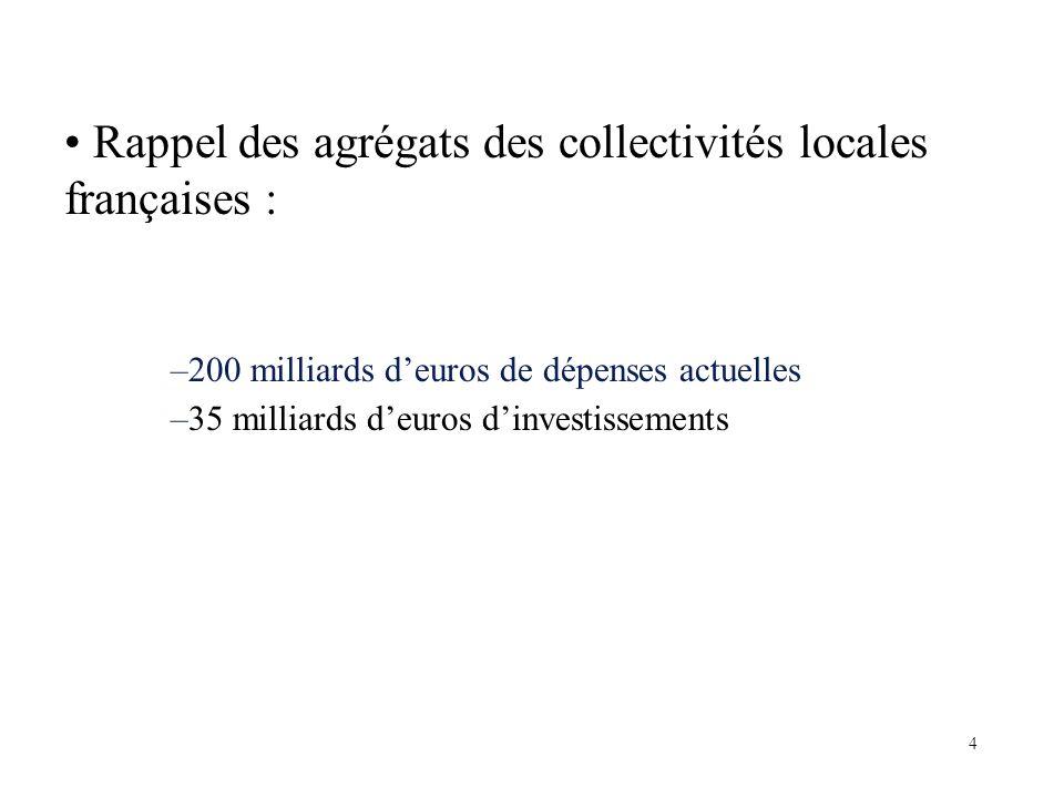 Rappel des agrégats des collectivités locales françaises : –200 milliards deuros de dépenses actuelles –35 milliards deuros dinvestissements 4
