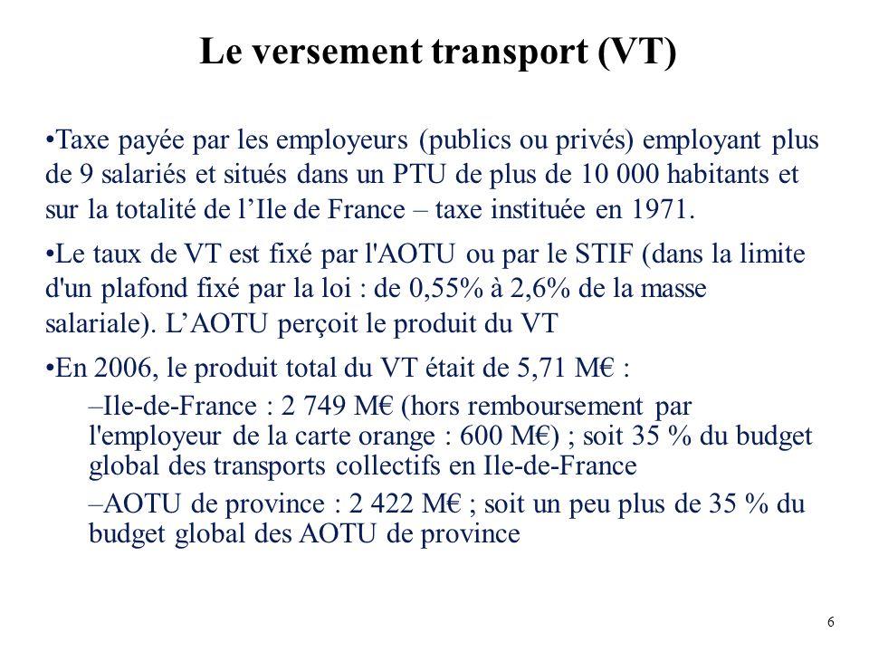 Taxe payée par les employeurs (publics ou privés) employant plus de 9 salariés et situés dans un PTU de plus de 10 000 habitants et sur la totalité de lIle de France – taxe instituée en 1971.