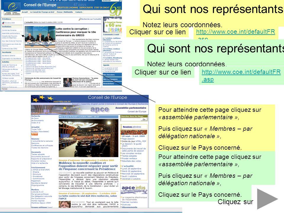 http://www.coe.int/defaultFR.asp Cliquer sur ce lien Qui sont nos représentants ? Notez leurs coordonnées. Pour atteindre cette page cliquez sur «asse