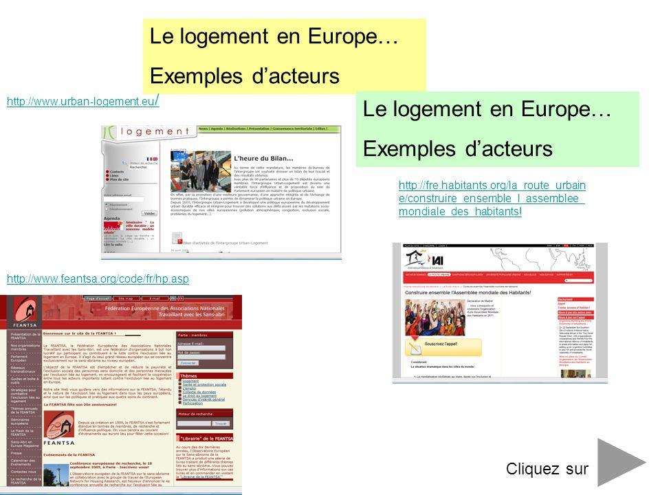 Le logement en Europe… Exemples dacteurs http://fre.habitants.org/la_route_urbain e/construire_ensemble_l_assemblee_ mondiale_des_habitants! http://ww
