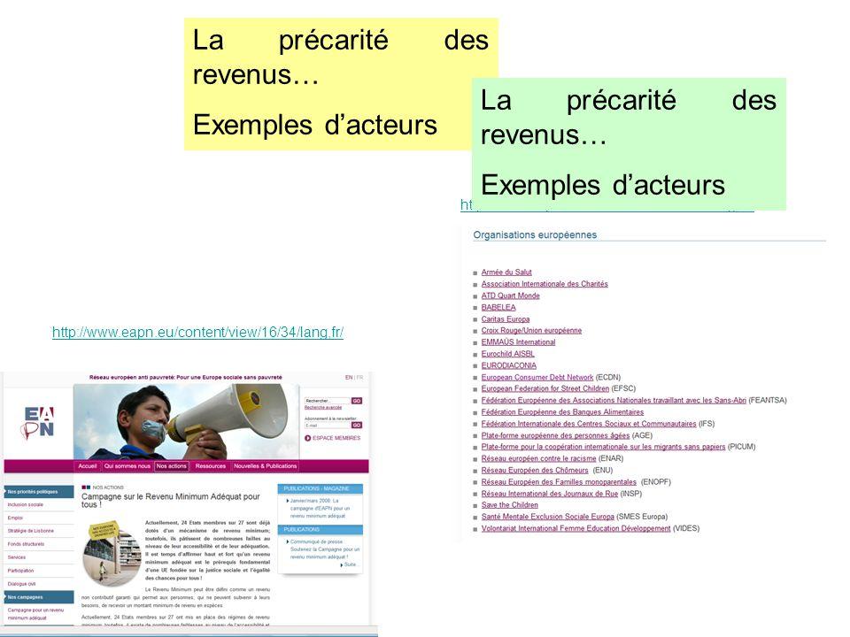 La précarité des revenus… Exemples dacteurs http://www.eapn.eu/content/view/16/34/lang,fr/ http://www.eapn.eu/content/view/20/21/lang,fr / La précarit