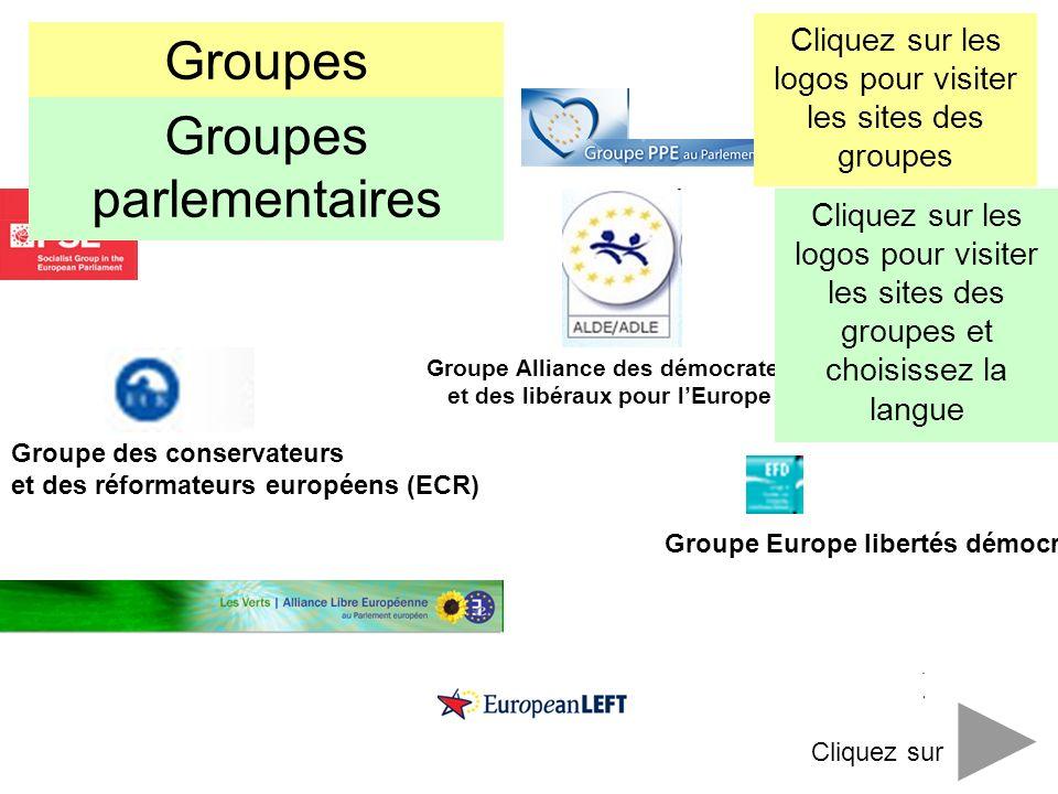 Groupe Alliance des démocrates et des libéraux pour lEurope Groupe des conservateurs et des réformateurs européens (ECR) Groupe Europe libertés démocr