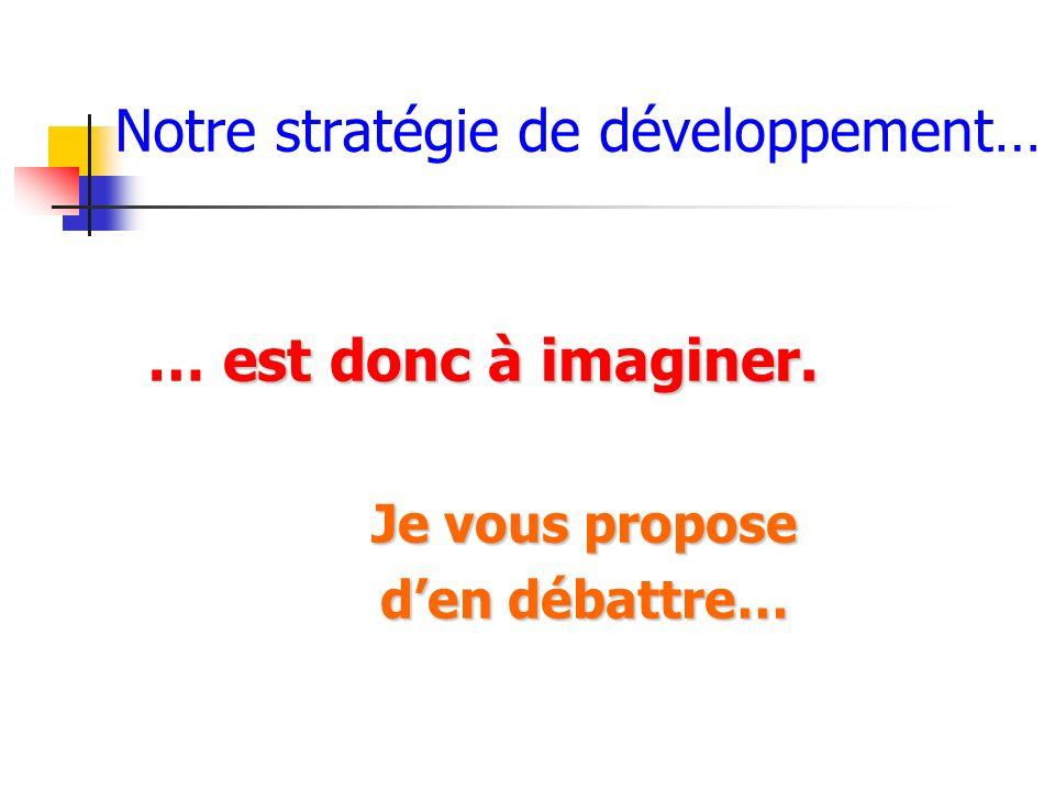 Notre stratégie de développement… est donc à imaginer. … est donc à imaginer. Je vous propose den débattre…