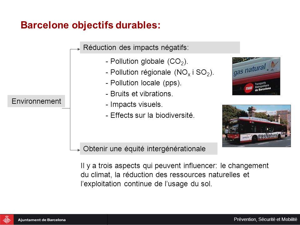 Prévention, Sécurité et Mobilité Barcelone objectifs durables: Réduction des impacts négatifs: Environnement Obtenir une équité intergénérationale - P