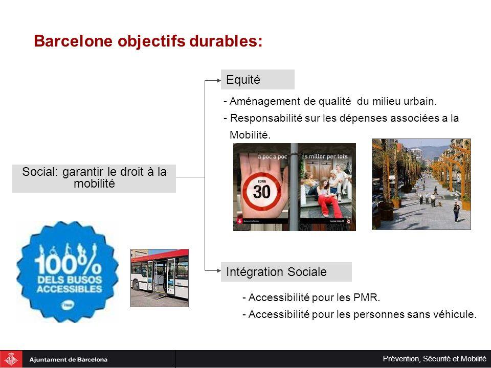 Prévention, Sécurité et Mobilité Barcelone objectifs durables: Amélioration de la distribution urbaine des marchandises Éfficacité économique Maintenir les vitesses de circulation en améliorant la vitesse du transport public.
