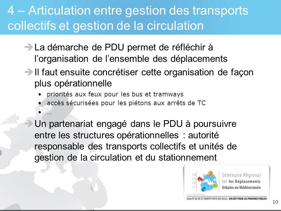 10 4 – Articulation entre gestion des transports collectifs et gestion de la circulation La démarche de PDU permet de réfléchir à lorganisation de len