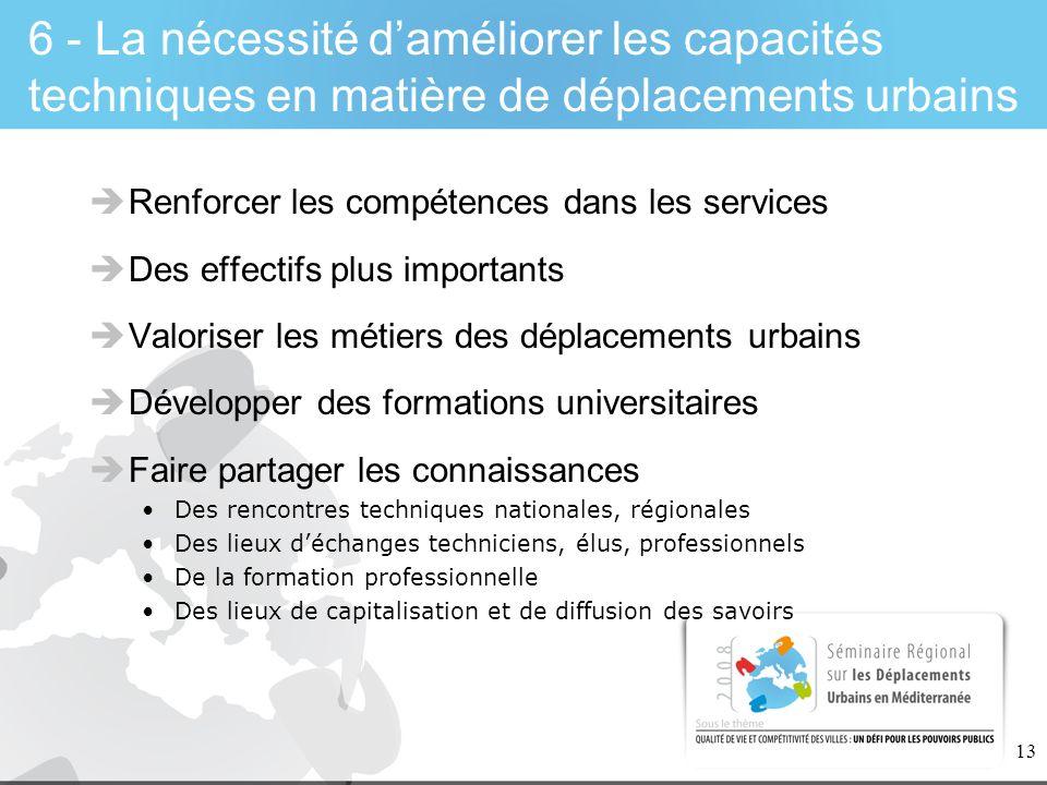 13 6 - La nécessité daméliorer les capacités techniques en matière de déplacements urbains Renforcer les compétences dans les services Des effectifs p