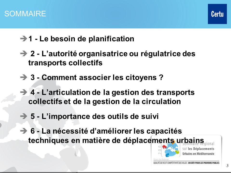 3 SOMMAIRE 1 - Le besoin de planification 2 - Lautorité organisatrice ou régulatrice des transports collectifs 3 - Comment associer les citoyens ? 4 -