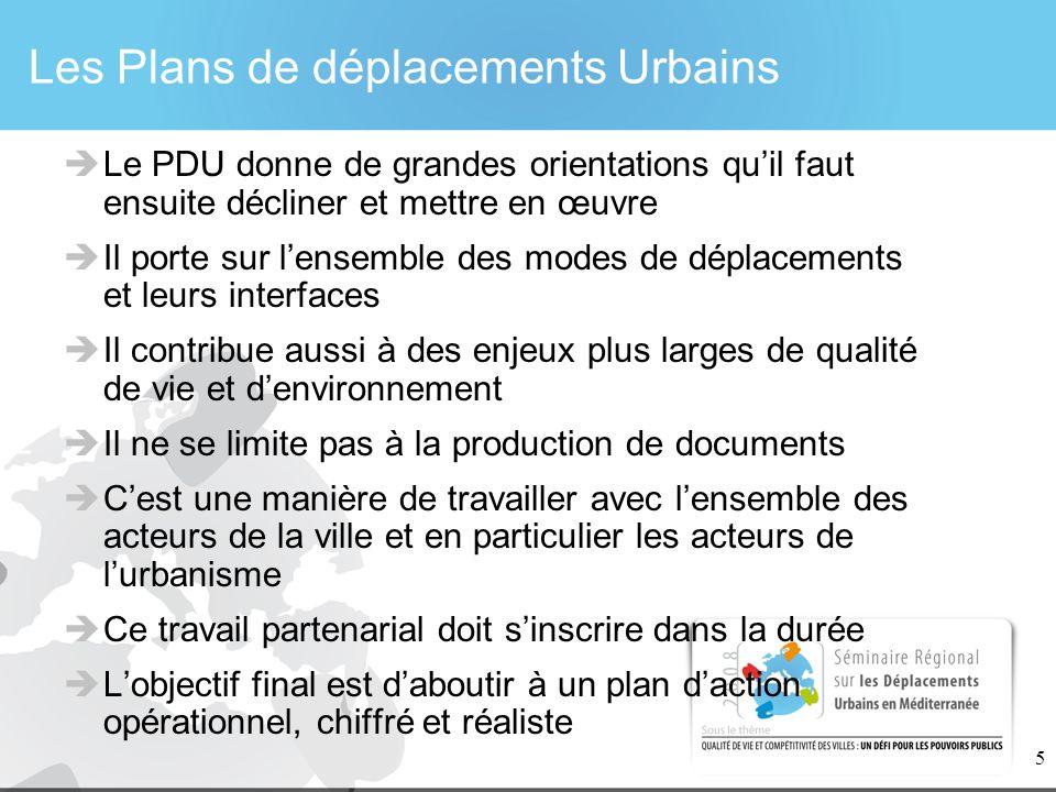 5 Les Plans de déplacements Urbains Le PDU donne de grandes orientations quil faut ensuite décliner et mettre en œuvre Il porte sur lensemble des mode