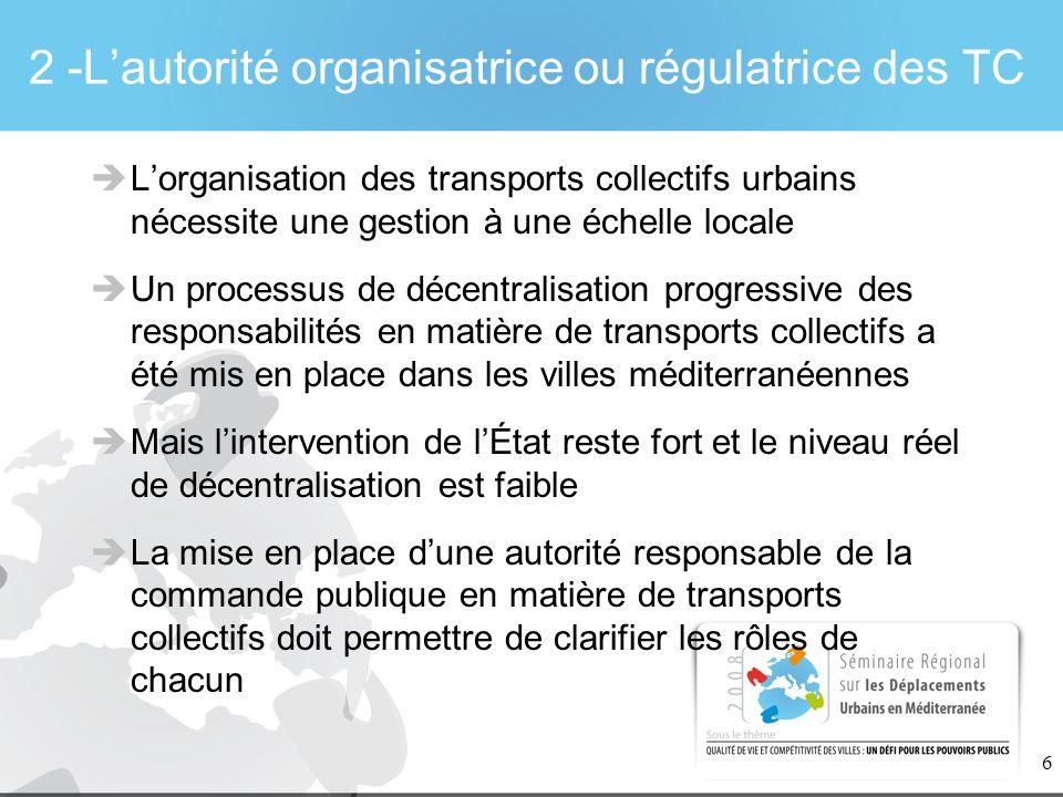 6 2 -Lautorité organisatrice ou régulatrice des TC Lorganisation des transports collectifs urbains nécessite une gestion à une échelle locale Un proce