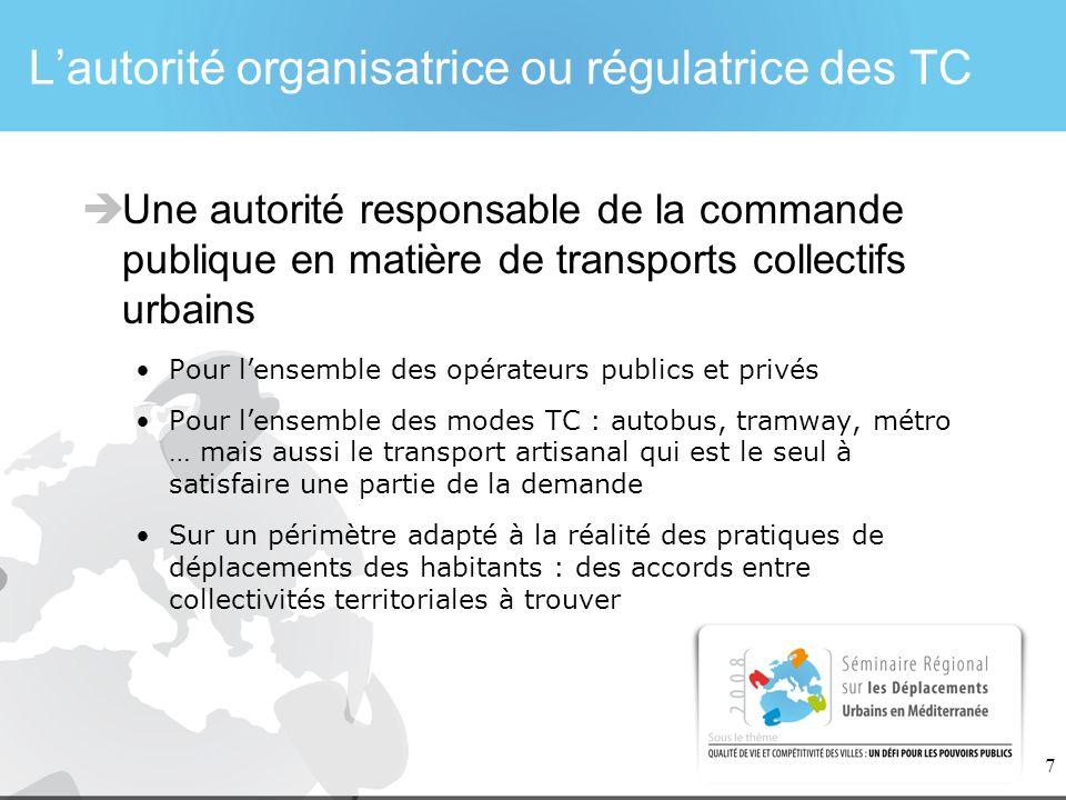 7 Lautorité organisatrice ou régulatrice des TC Une autorité responsable de la commande publique en matière de transports collectifs urbains Pour lens