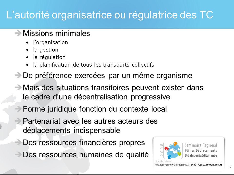 8 Lautorité organisatrice ou régulatrice des TC Missions minimales lorganisation la gestion la régulation la planification de tous les transports coll