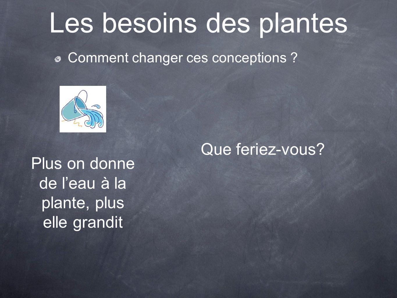 Les besoins des plantes Comment changer ces conceptions ? Plus on donne de leau à la plante, plus elle grandit Que feriez-vous?
