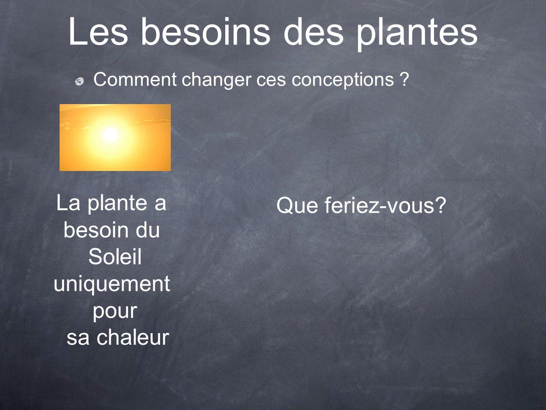 Les besoins des plantes Comment changer ces conceptions ? La plante a besoin du Soleil uniquement pour sa chaleur Que feriez-vous?