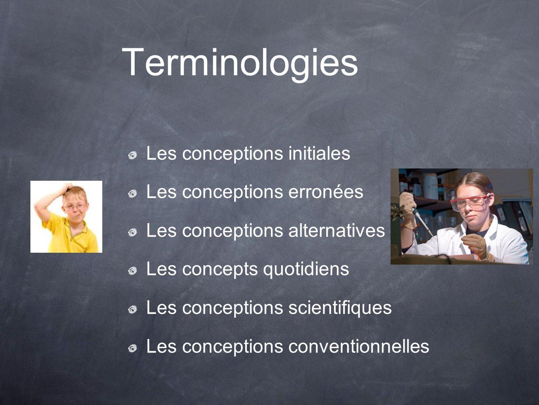 Terminologies Les conceptions initiales Les conceptions erronées Les conceptions alternatives Les concepts quotidiens Les conceptions scientifiques Le