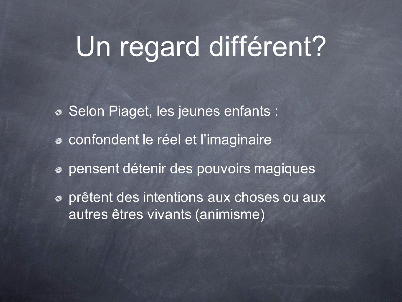 Un regard différent? Selon Piaget, les jeunes enfants : confondent le réel et limaginaire pensent détenir des pouvoirs magiques prêtent des intentions