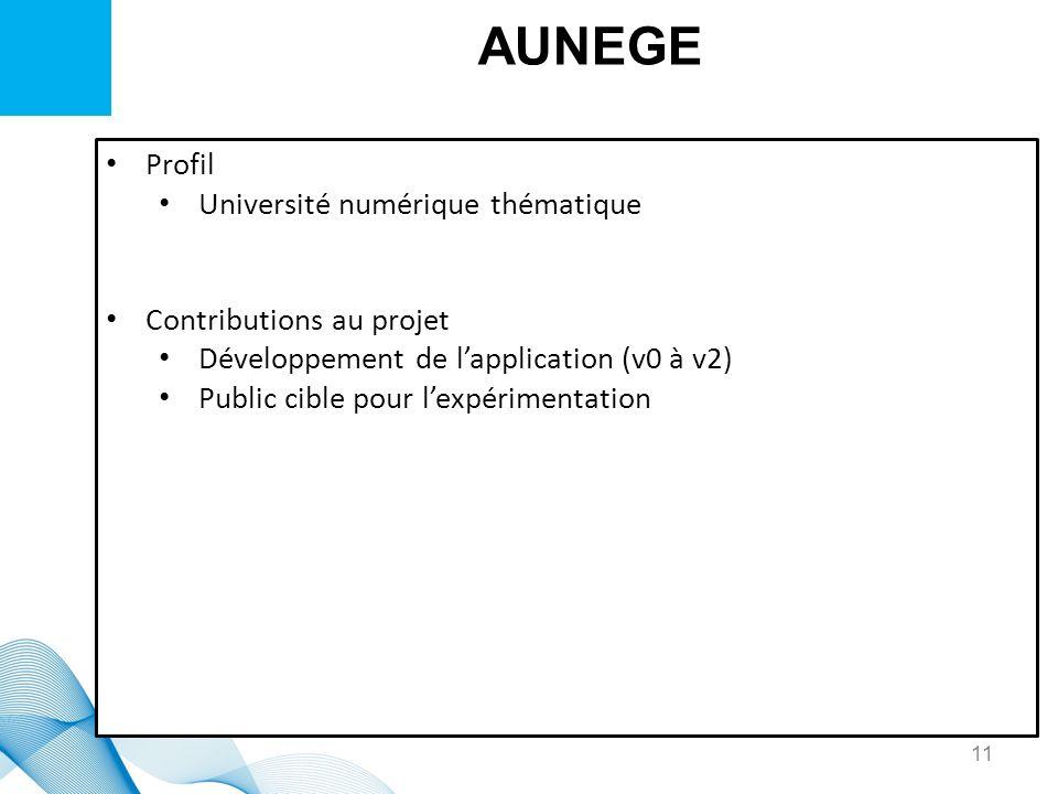 AUNEGE Profil Université numérique thématique Contributions au projet Développement de lapplication (v0 à v2) Public cible pour lexpérimentation 11