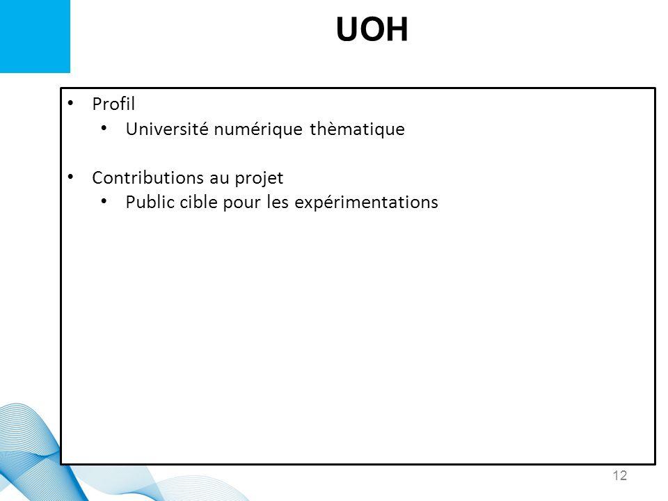 UOH Profil Université numérique thèmatique Contributions au projet Public cible pour les expérimentations 12