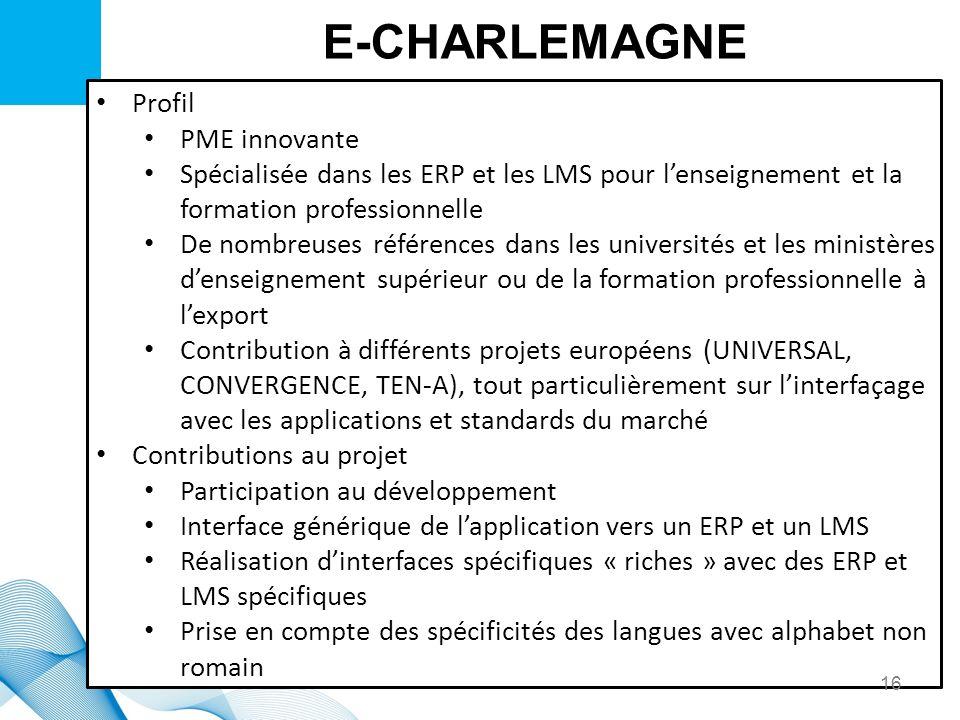 E-CHARLEMAGNE Profil PME innovante Spécialisée dans les ERP et les LMS pour lenseignement et la formation professionnelle De nombreuses références dan