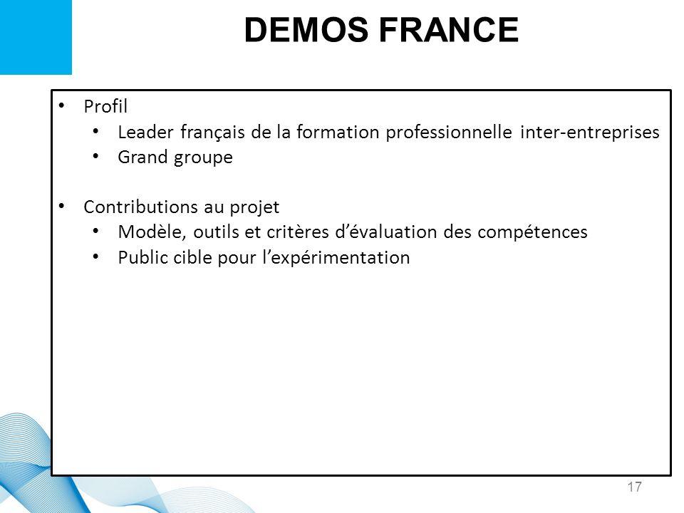 DEMOS FRANCE Profil Leader français de la formation professionnelle inter-entreprises Grand groupe Contributions au projet Modèle, outils et critères