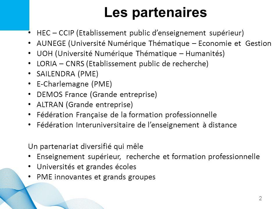 Les partenaires HEC – CCIP (Etablissement public denseignement supérieur) AUNEGE (Université Numérique Thématique – Economie et Gestion UOH (Universit