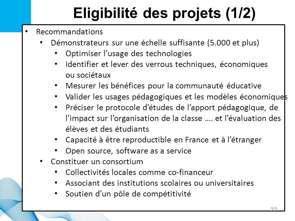 Eligibilité des projets (1/2) Recommandations Démonstrateurs sur une échelle suffisante (5.000 et plus) Optimiser lusage des technologies Identifier e