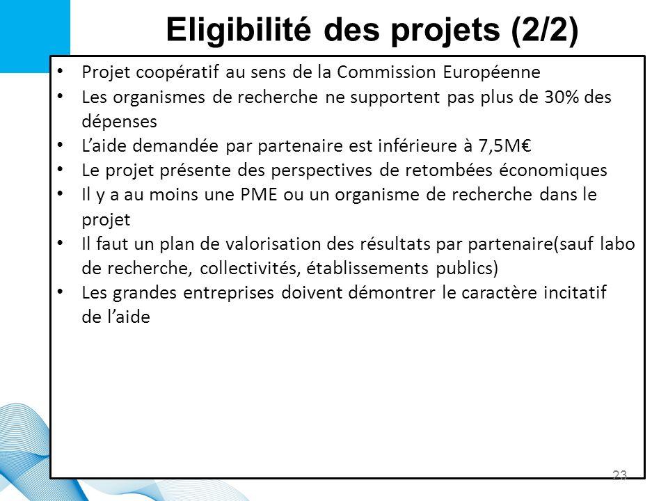 Eligibilité des projets (2/2) Projet coopératif au sens de la Commission Européenne Les organismes de recherche ne supportent pas plus de 30% des dépe