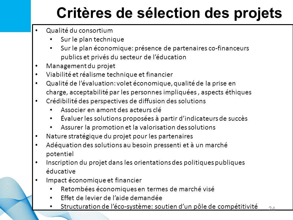 Critères de sélection des projets Qualité du consortium Sur le plan technique Sur le plan économique: présence de partenaires co-financeurs publics et