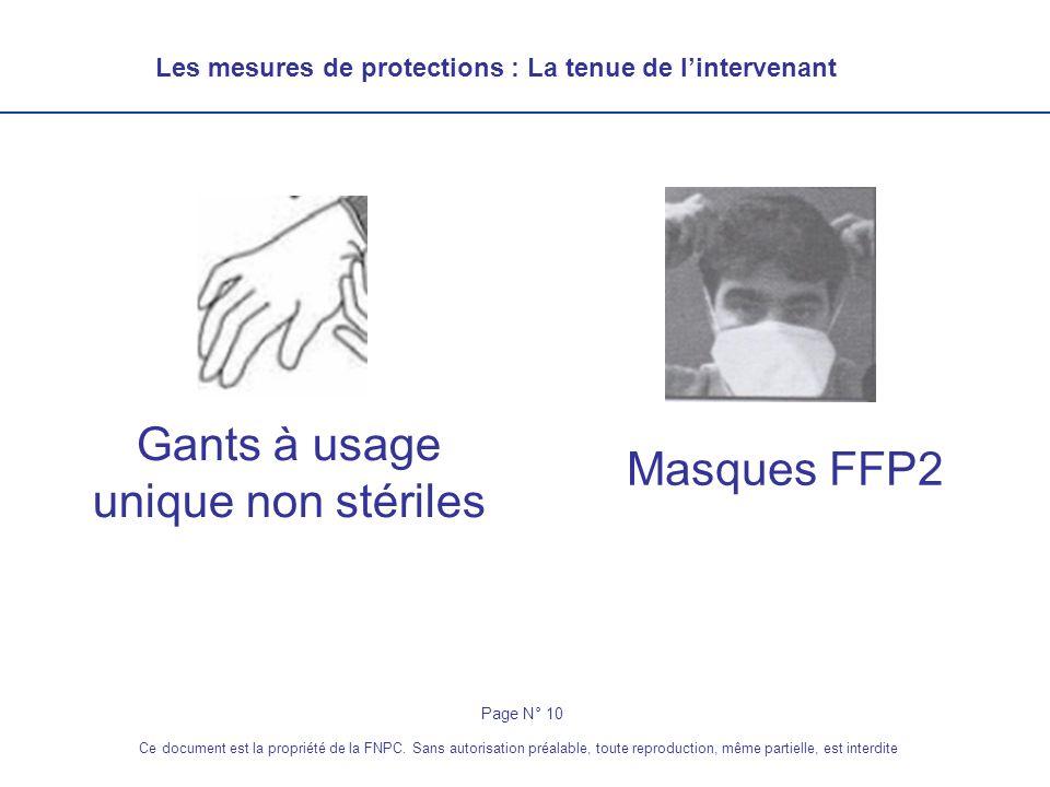 Les mesures de protections : La tenue de lintervenant Gants à usage unique non stériles Masques FFP2 Page N° 10 Ce document est la propriété de la FNP