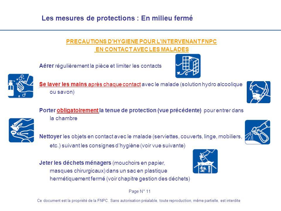 Les mesures de protections : En milieu fermé PRECAUTIONS DHYGIENE POUR LINTERVENANT FNPC EN CONTACT AVEC LES MALADES Aérer régulièrement la pièce et l
