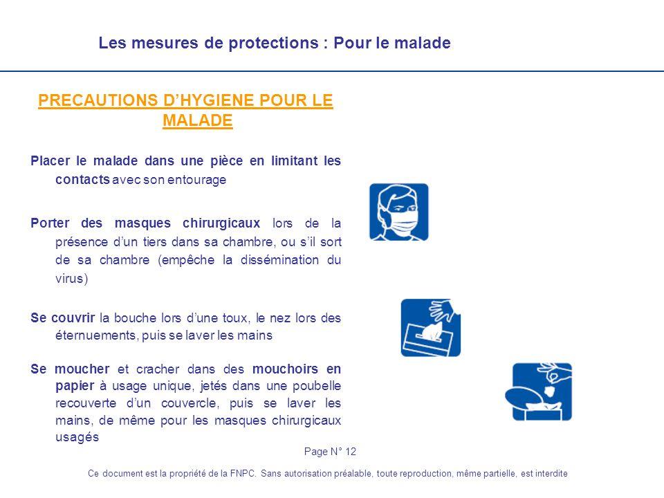 Les mesures de protections : Pour le malade PRECAUTIONS DHYGIENE POUR LE MALADE Placer le malade dans une pièce en limitant les contacts avec son ento