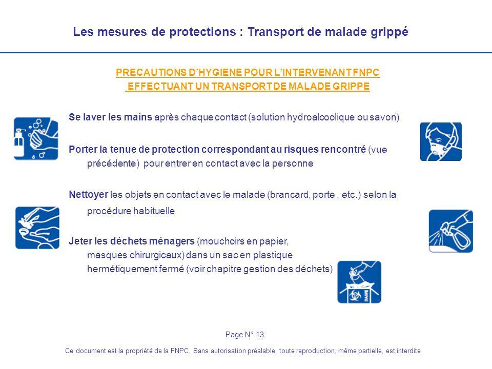 Les mesures de protections : Transport de malade grippé PRECAUTIONS DHYGIENE POUR LINTERVENANT FNPC EFFECTUANT UN TRANSPORT DE MALADE GRIPPE Se laver