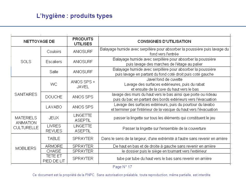 Lhygiène : produits types Page N° 17 Ce document est la propriété de la FNPC. Sans autorisation préalable, toute reproduction, même partielle, est int