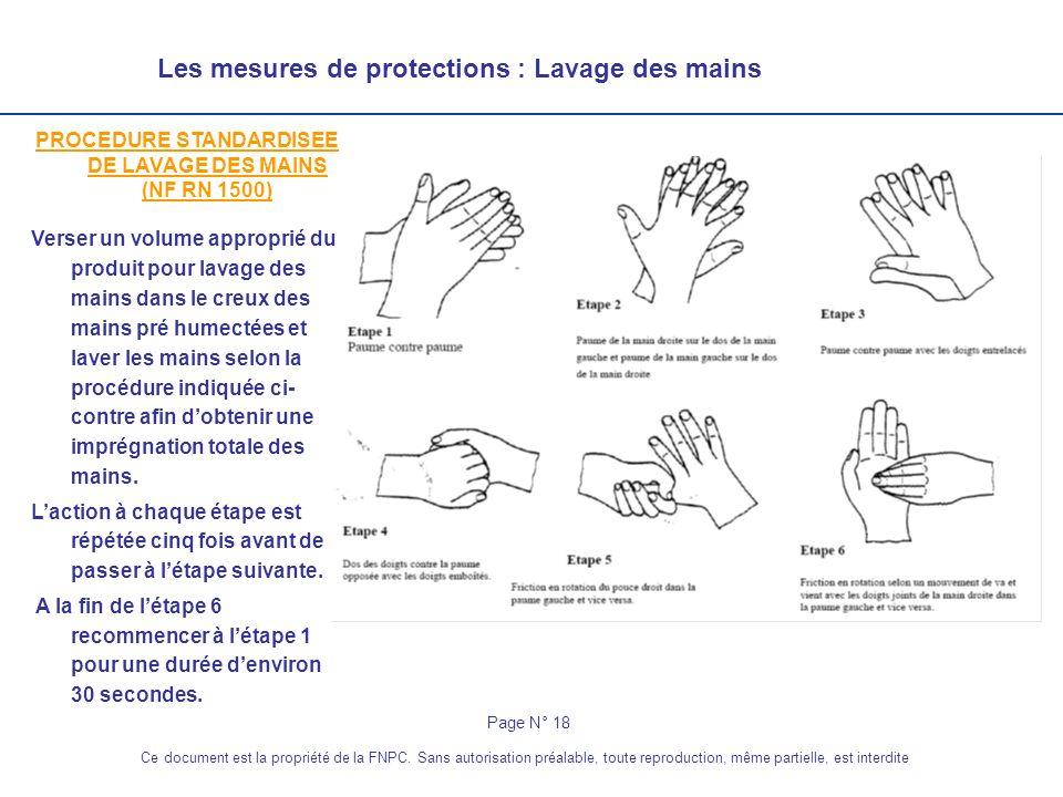 Les mesures de protections : Lavage des mains PROCEDURE STANDARDISEE DE LAVAGE DES MAINS (NF RN 1500) Verser un volume approprié du produit pour lavag