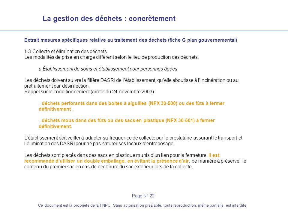 La gestion des déchets : concrètement Page N° 22 Ce document est la propriété de la FNPC. Sans autorisation préalable, toute reproduction, même partie