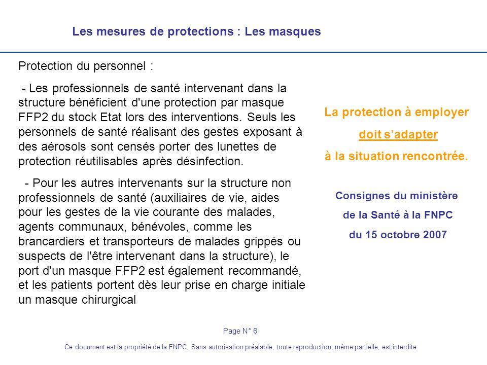 Les mesures de protections : Les masques La protection à employer doit sadapter à la situation rencontrée. Consignes du ministère de la Santé à la FNP
