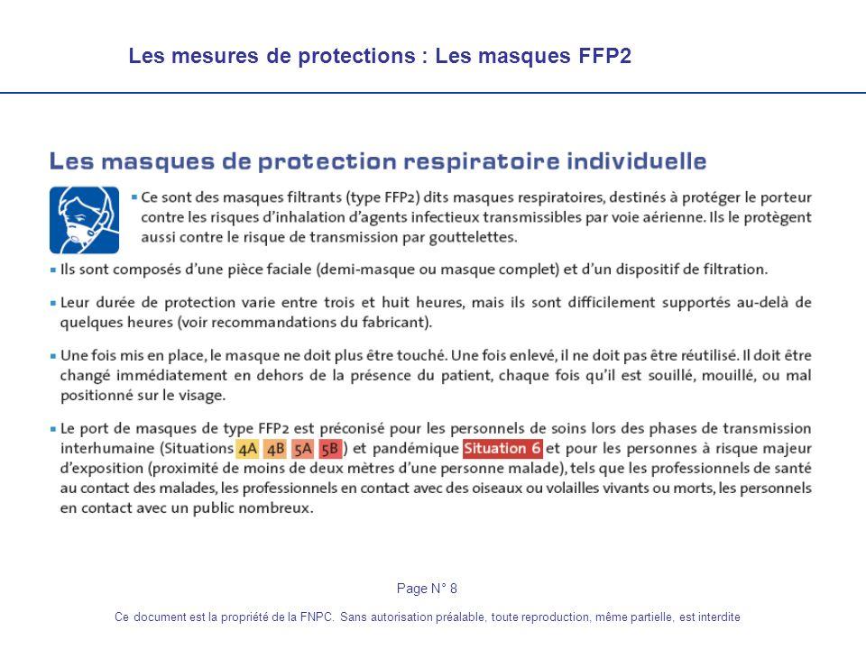 Les mesures de protections : Les masques FFP2 Page N° 8 Ce document est la propriété de la FNPC. Sans autorisation préalable, toute reproduction, même