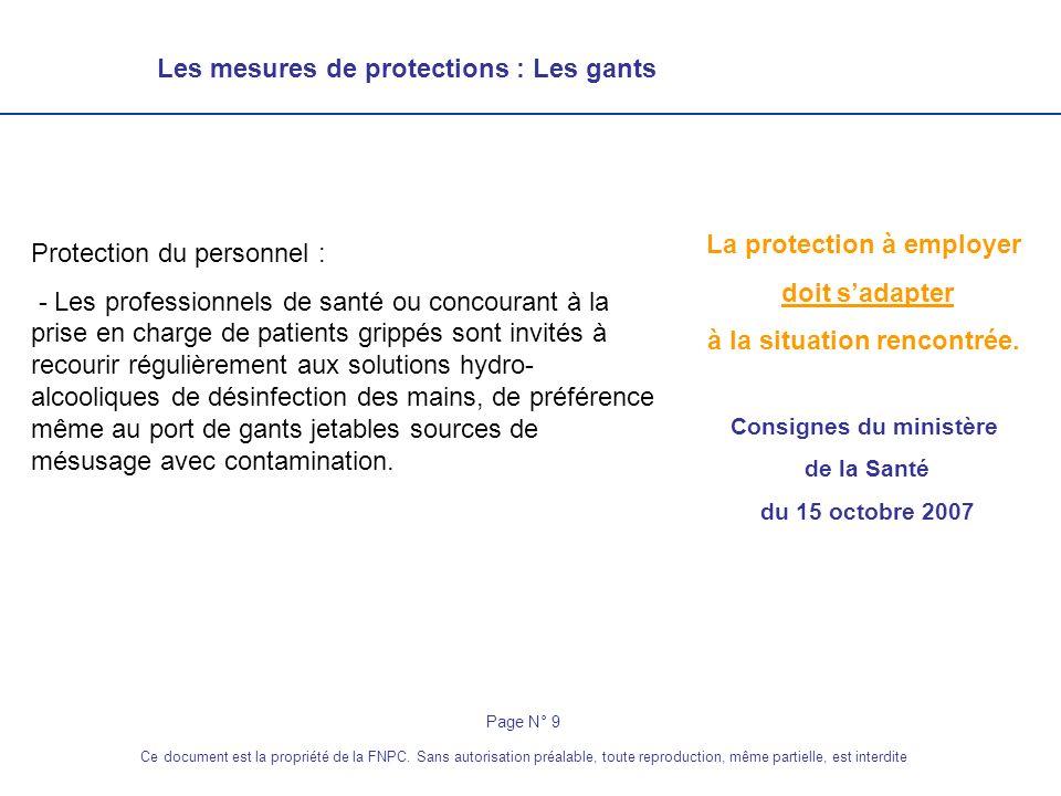 Les mesures de protections : La tenue de lintervenant Gants à usage unique non stériles Masques FFP2 Page N° 10 Ce document est la propriété de la FNPC.