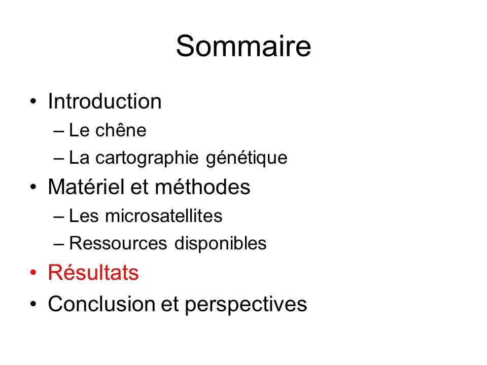 Sommaire Introduction –Le chêne –La cartographie génétique Matériel et méthodes –Les microsatellites –Ressources disponibles Résultats Conclusion et p