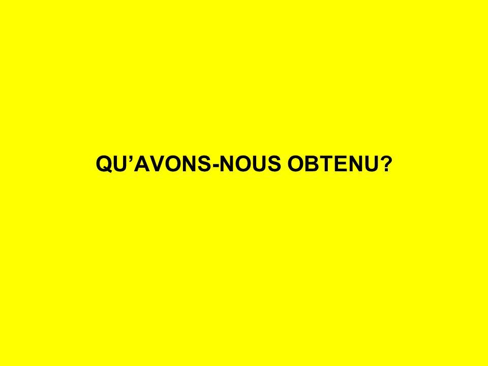 QUAVONS-NOUS OBTENU?