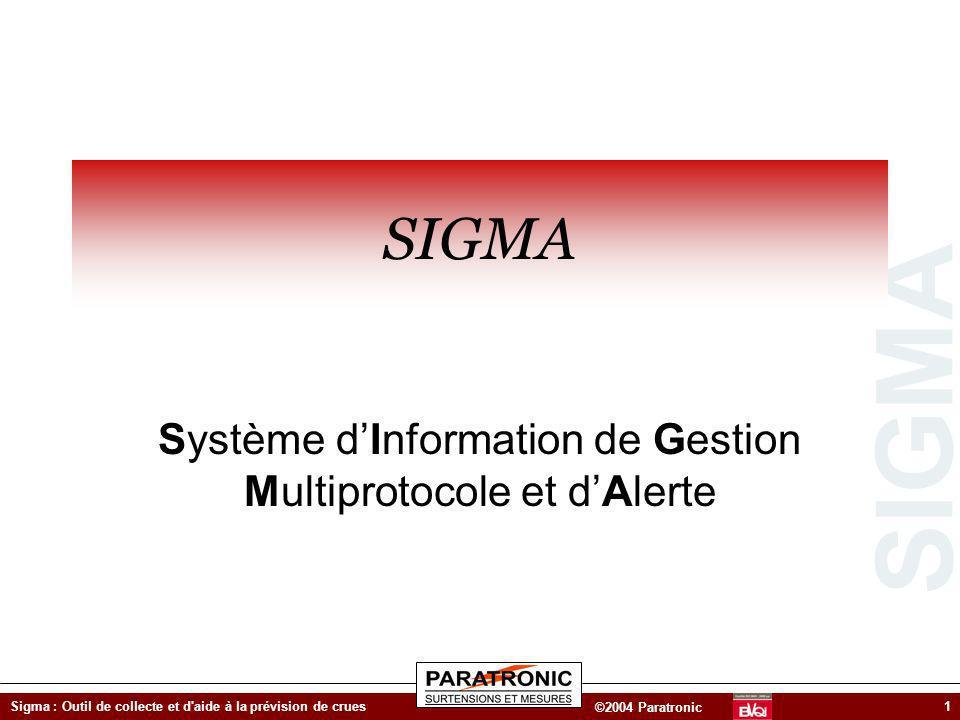 SIGMA ©2004 Paratronic Sigma : Outil de collecte et d'aide à la prévision de crues1 SIGMA Système dInformation de Gestion Multiprotocole et dAlerte