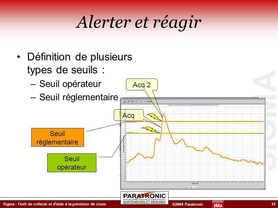 SIGMA ©2004 Paratronic Sigma : Outil de collecte et d'aide à la prévision de crues12 Alerter et réagir Définition de plusieurs types de seuils : –Seui