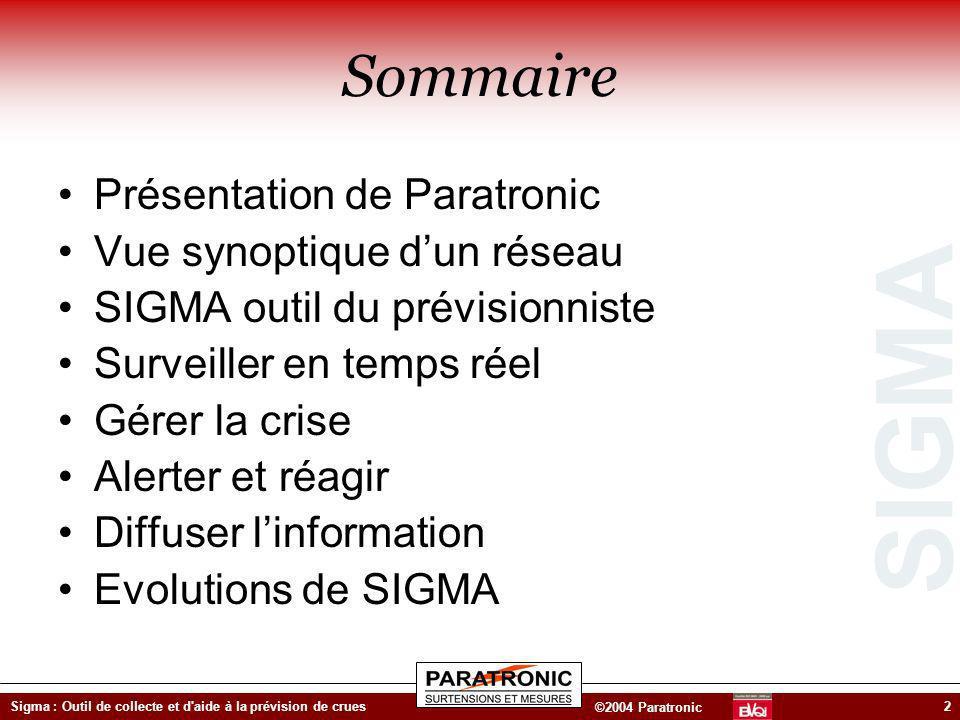 SIGMA ©2004 Paratronic Sigma : Outil de collecte et d'aide à la prévision de crues2 Sommaire Présentation de Paratronic Vue synoptique dun réseau SIGM