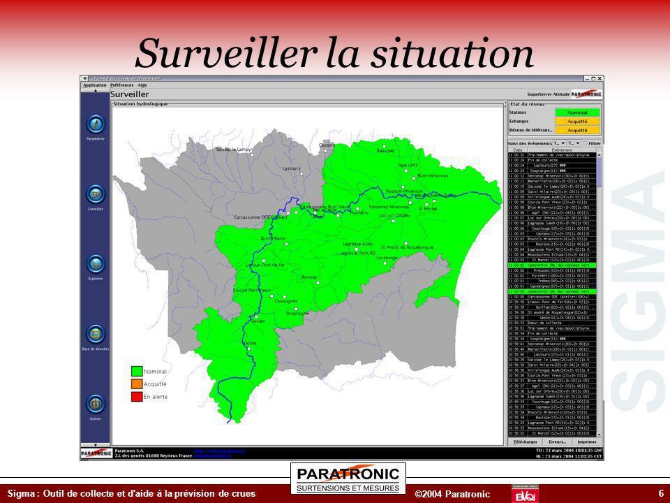 SIGMA ©2004 Paratronic Sigma : Outil de collecte et d'aide à la prévision de crues6 Surveiller la situation