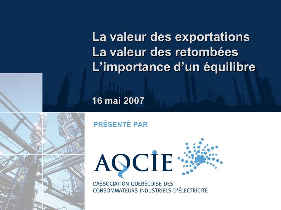 La valeur des exportations La valeur des retombées Limportance dun équilibre PRÉSENTÉ PAR 16 mai 2007