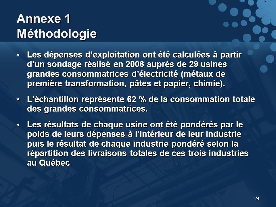 24 Annexe 1 Méthodologie Les dépenses dexploitation ont été calculées à partir dun sondage réalisé en 2006 auprès de 29 usines grandes consommatrices délectricité (métaux de première transformation, pâtes et papier, chimie).