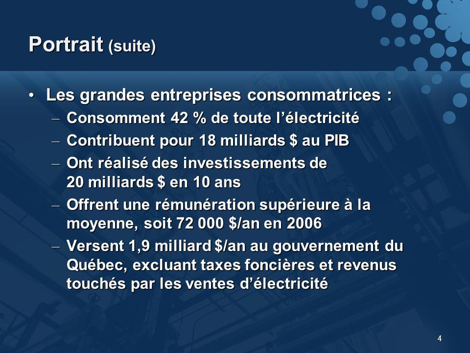 4 Portrait (suite) Les grandes entreprises consommatrices : Les grandes entreprises consommatrices : – Consomment 42 % de toute lélectricité – Contribuent pour 18 milliards $ au PIB – Ont réalisé des investissements de 20 milliards $ en 10 ans – Offrent une rémunération supérieure à la moyenne, soit 72 000 $/an en 2006 – Versent 1,9 milliard $/an au gouvernement du Québec, excluant taxes foncières et revenus touchés par les ventes délectricité