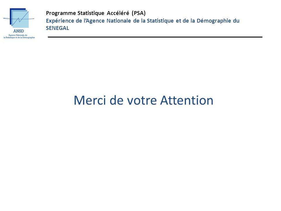 Programme Statistique Accéléré (PSA) Expérience de lAgence Nationale de la Statistique et de la Démographie du SENEGAL Merci de votre Attention