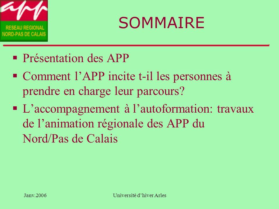 Janv.2006Université dhiver Arles Comment loffre de formation incite-elle les personnes à construire leur propre parcours .