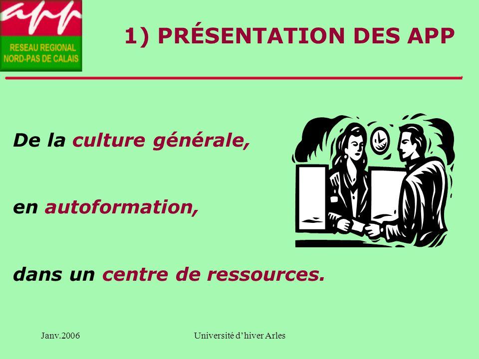 Janv.2006Université dhiver Arles SOMMAIRE Présentation des APP Comment lAPP incite t-il les personnes à prendre en charge leur parcours.